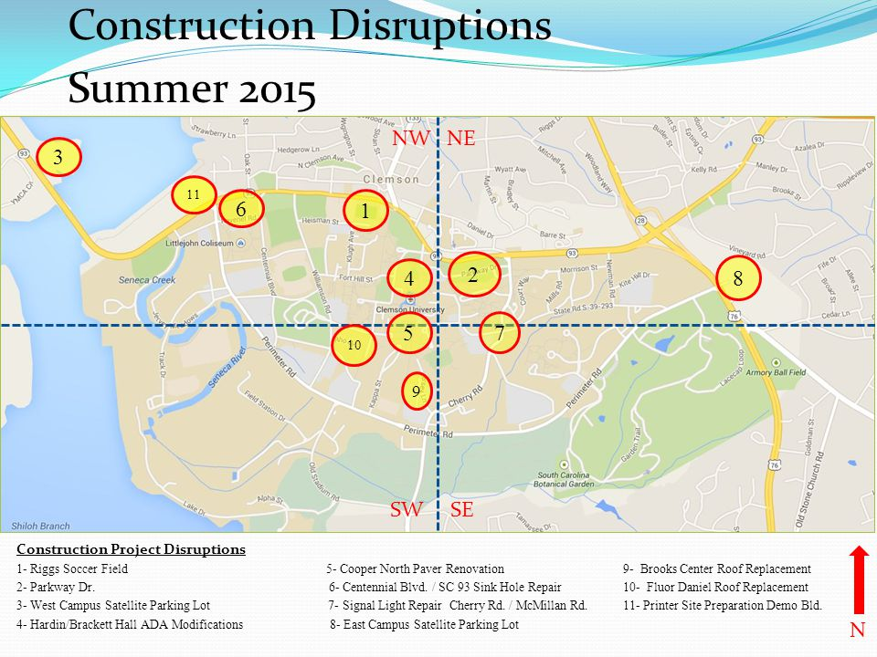 Construction Disruptions Summer 2015 Construction Project Disruptions 1- Riggs Soccer Field 5- Cooper North Paver Renovation 9- Brooks Center Roof Rep