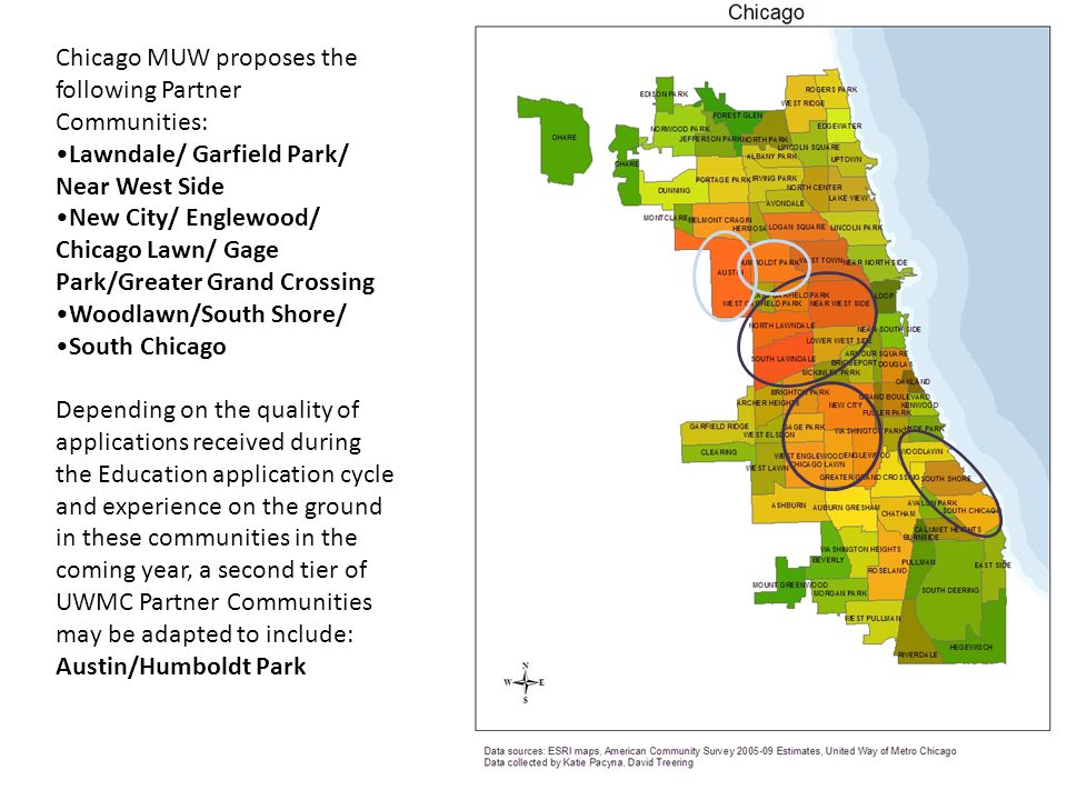 Chicago MUW proposes the following Partner Communities: Lawndale/ Garfield Park/ Near West Side New City/ Englewood/ Chicago Lawn/ Gage Park/Greater G
