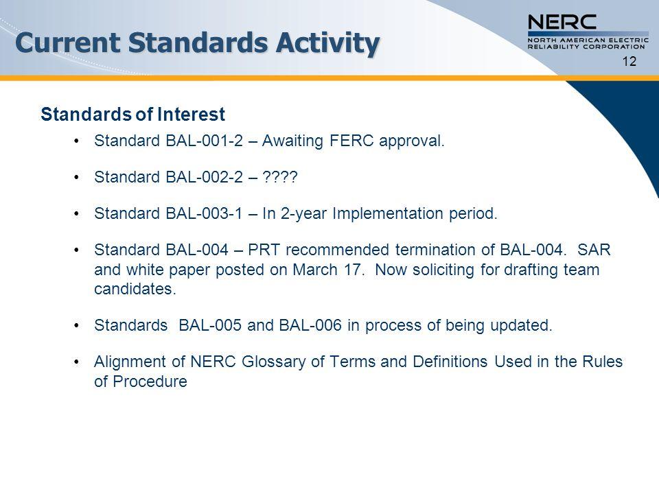 Current Standards Activity Standards of Interest Standard BAL-001-2 – Awaiting FERC approval. Standard BAL-002-2 – ???? Standard BAL-003-1 – In 2-year