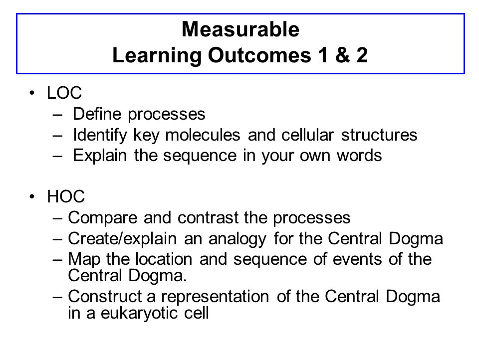 Measurable Learning Outcomes 1 & 2 LOC – Define processes – Identify key molecules and cellular structures – Explain the sequence in your own words HO