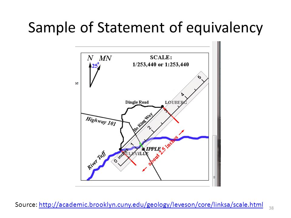 Sample of Statement of equivalency Source: http://academic.brooklyn.cuny.edu/geology/leveson/core/linksa/scale.htmlhttp://academic.brooklyn.cuny.edu/geology/leveson/core/linksa/scale.html 38