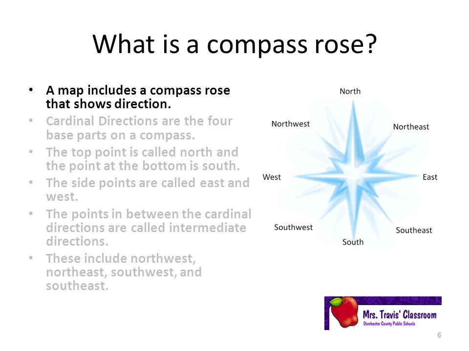 What is a compass rose.A map includes a compass rose that shows direction.