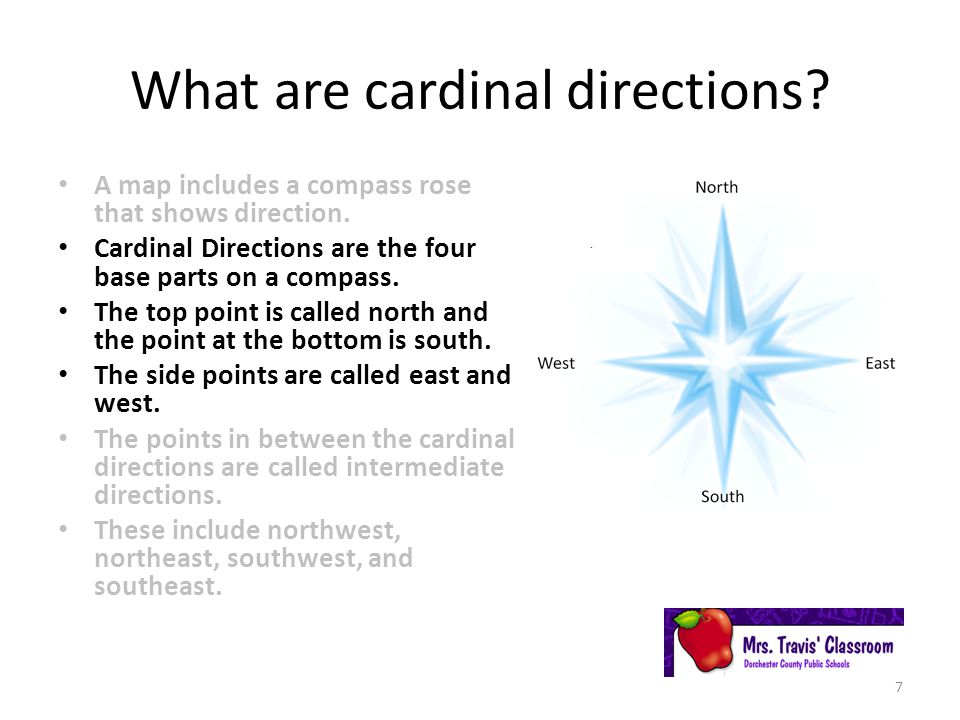 What are cardinal directions.A map includes a compass rose that shows direction.