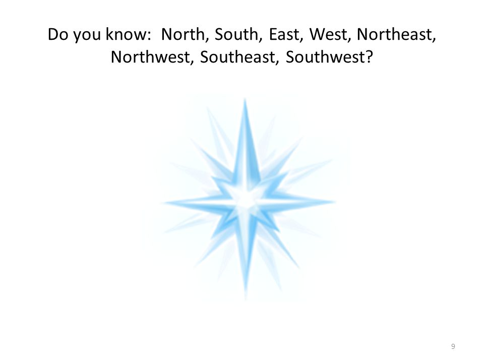 Do you know: North, South, East, West, Northeast, Northwest, Southeast, Southwest? 9