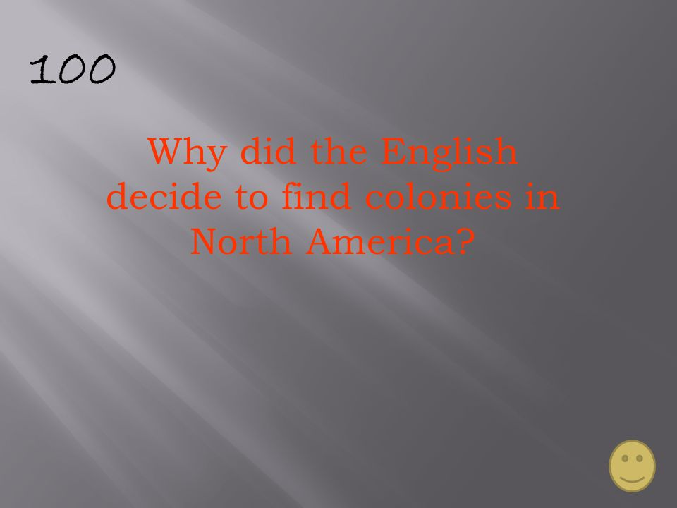 100 Why did the English decide to find colonies in North America?