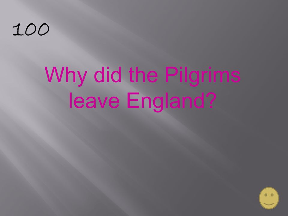100 Why did the Pilgrims leave England