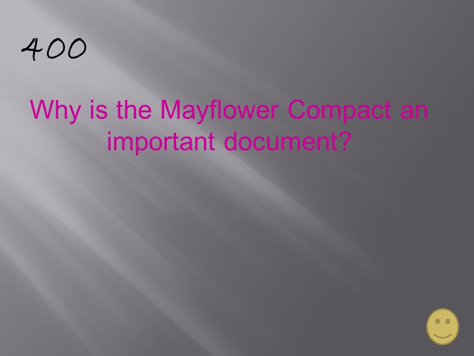 400 Why is the Mayflower Compact an important document?