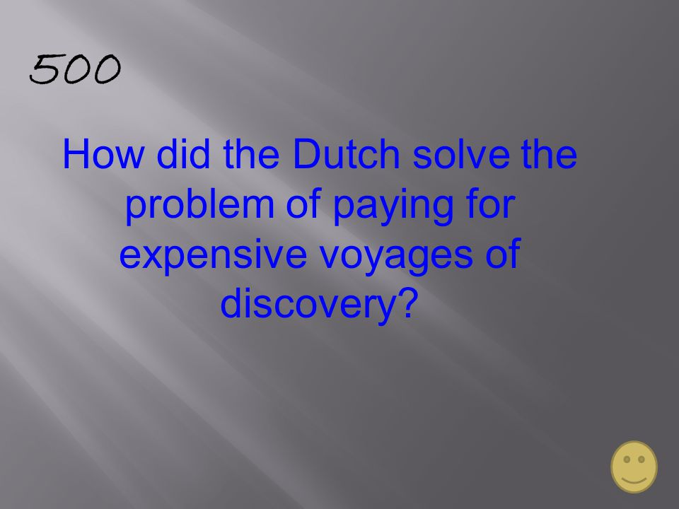 500 How did the Dutch solve the problem of paying for expensive voyages of discovery?