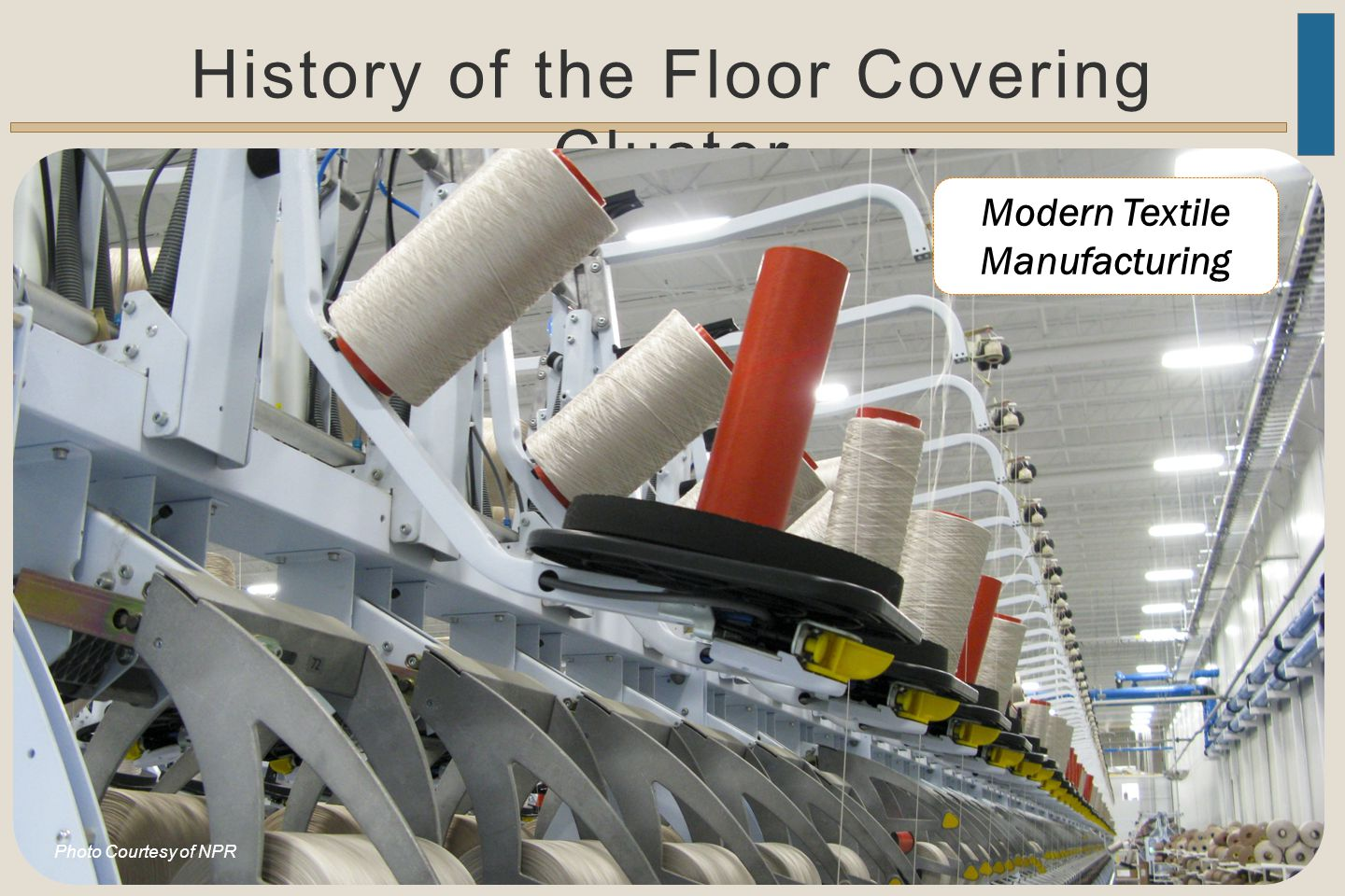 History of the Floor Covering Cluster Modern Textile Manufacturing Photo Courtesy of NPR