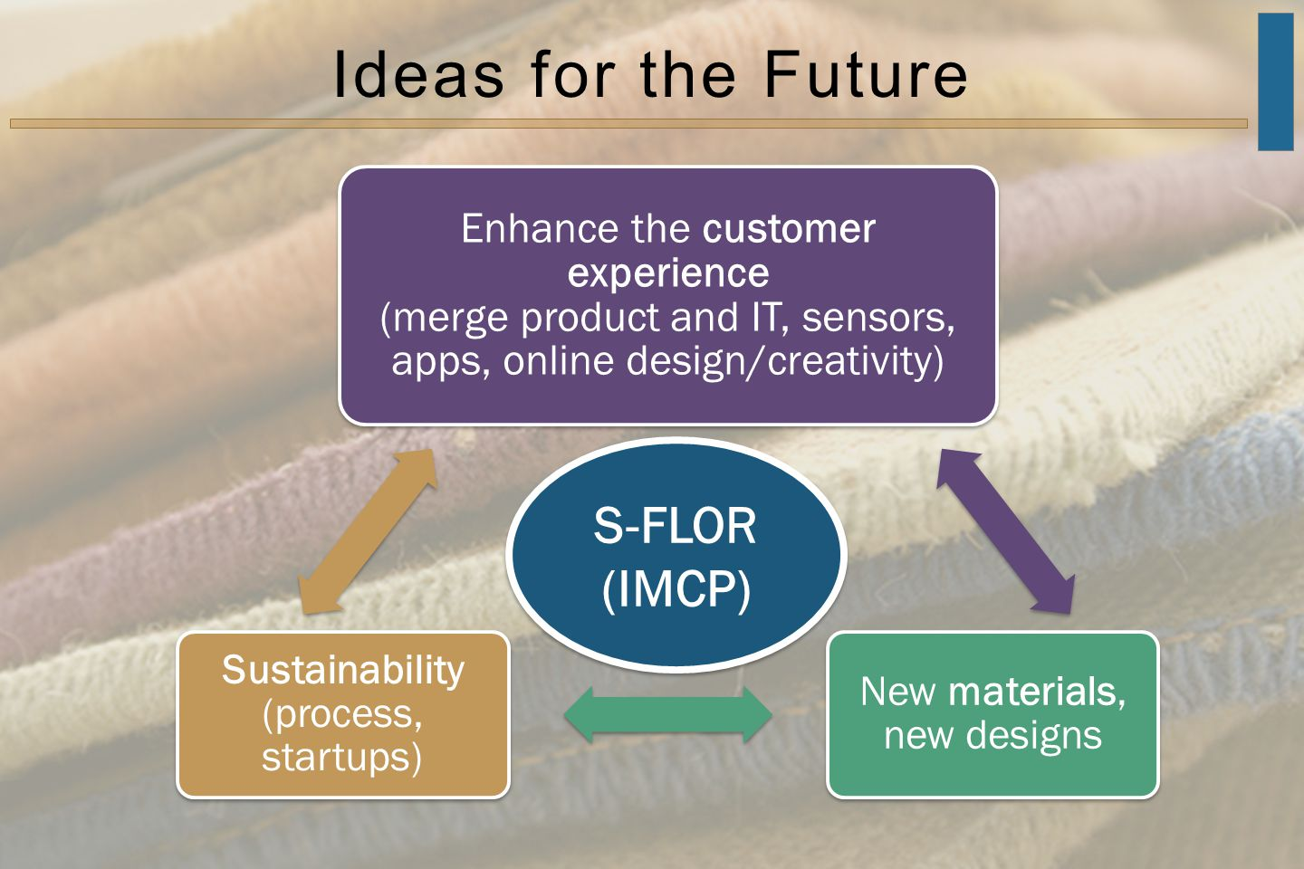 Ideas for the Future Enhance the customer experience (merge product and IT, sensors, apps, online design/creativity) New materials, new designs Sustainability (process, startups) S-FLOR (IMCP) S-FLOR (IMCP)