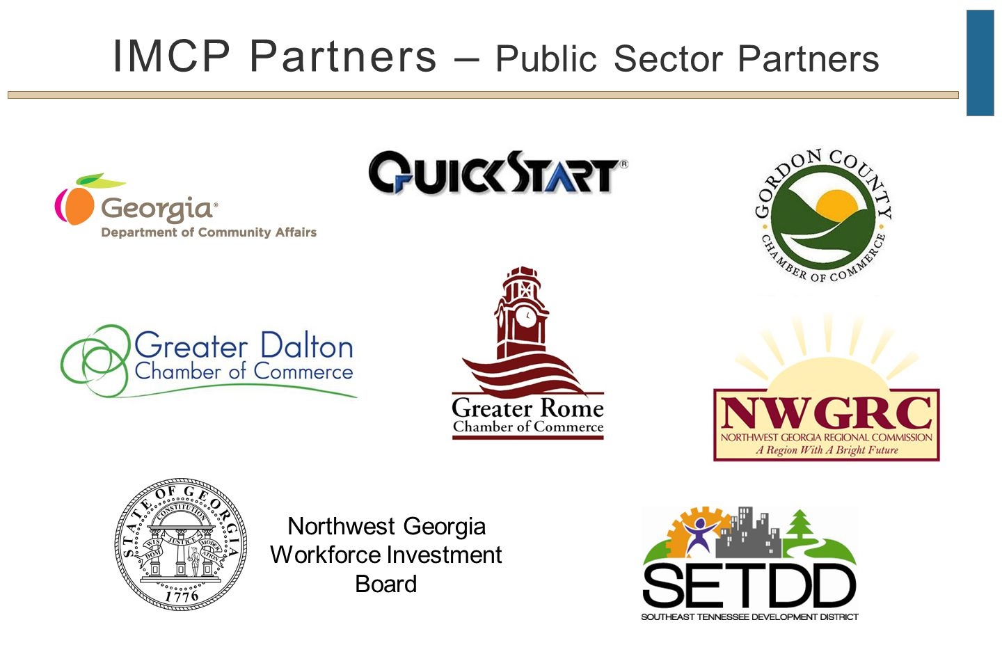 Northwest Georgia Workforce Investment Board IMCP Partners – Public Sector Partners