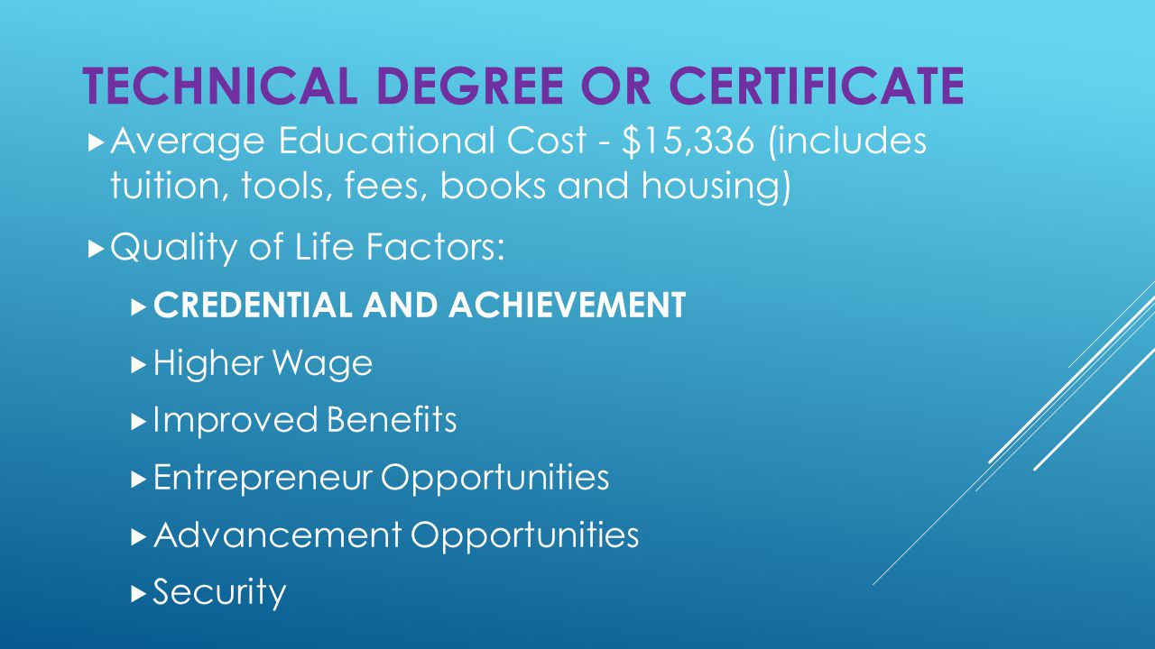  Average Educational Cost - $15,336 (includes tuition, tools, fees, books and housing)  Quality of Life Factors:  CREDENTIAL AND ACHIEVEMENT  Higher Wage  Improved Benefits  Entrepreneur Opportunities  Advancement Opportunities  Security TECHNICAL DEGREE OR CERTIFICATE