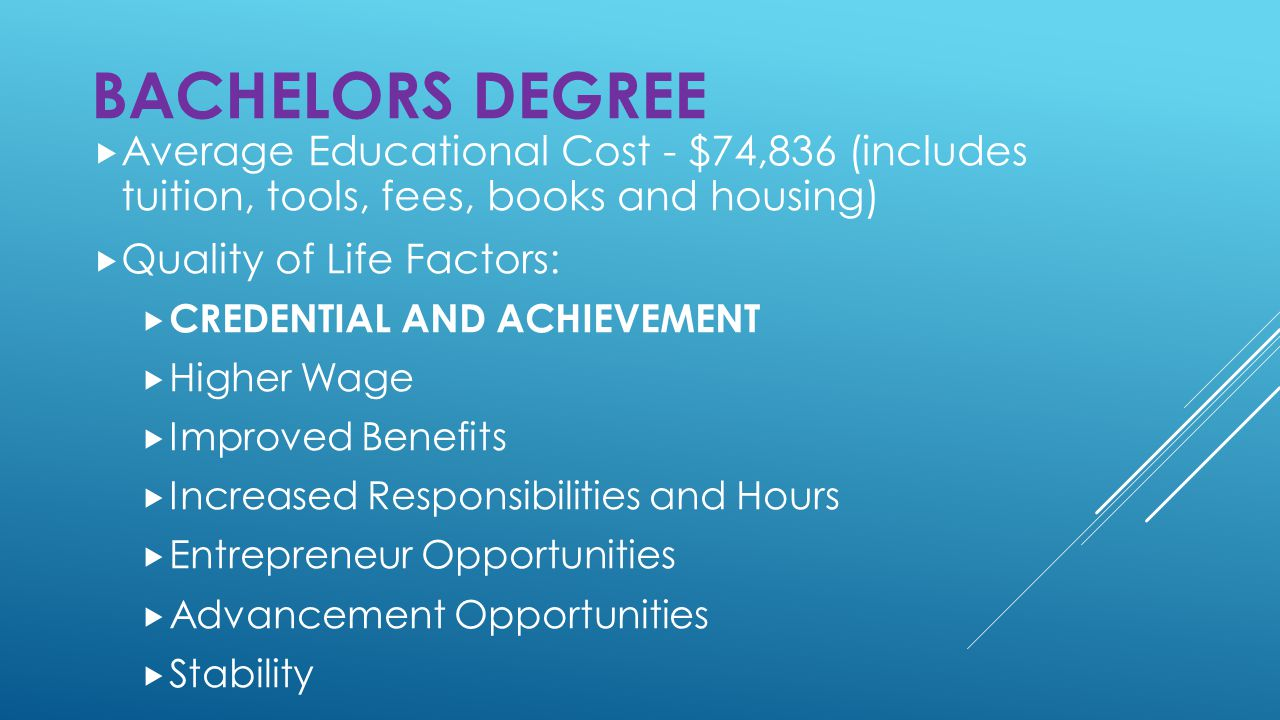 Average Educational Cost - $74,836 (includes tuition, tools, fees, books and housing)  Quality of Life Factors:  CREDENTIAL AND ACHIEVEMENT  Higher Wage  Improved Benefits  Increased Responsibilities and Hours  Entrepreneur Opportunities  Advancement Opportunities  Stability BACHELORS DEGREE