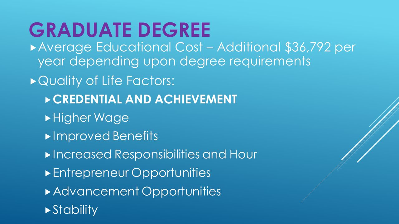  Average Educational Cost – Additional $36,792 per year depending upon degree requirements  Quality of Life Factors:  CREDENTIAL AND ACHIEVEMENT  Higher Wage  Improved Benefits  Increased Responsibilities and Hour  Entrepreneur Opportunities  Advancement Opportunities  Stability GRADUATE DEGREE