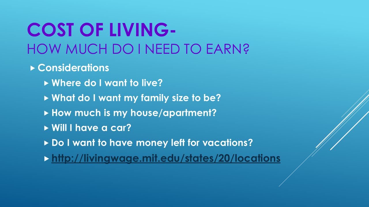 COST OF LIVING- HOW MUCH DO I NEED TO EARN.  Considerations  Where do I want to live.