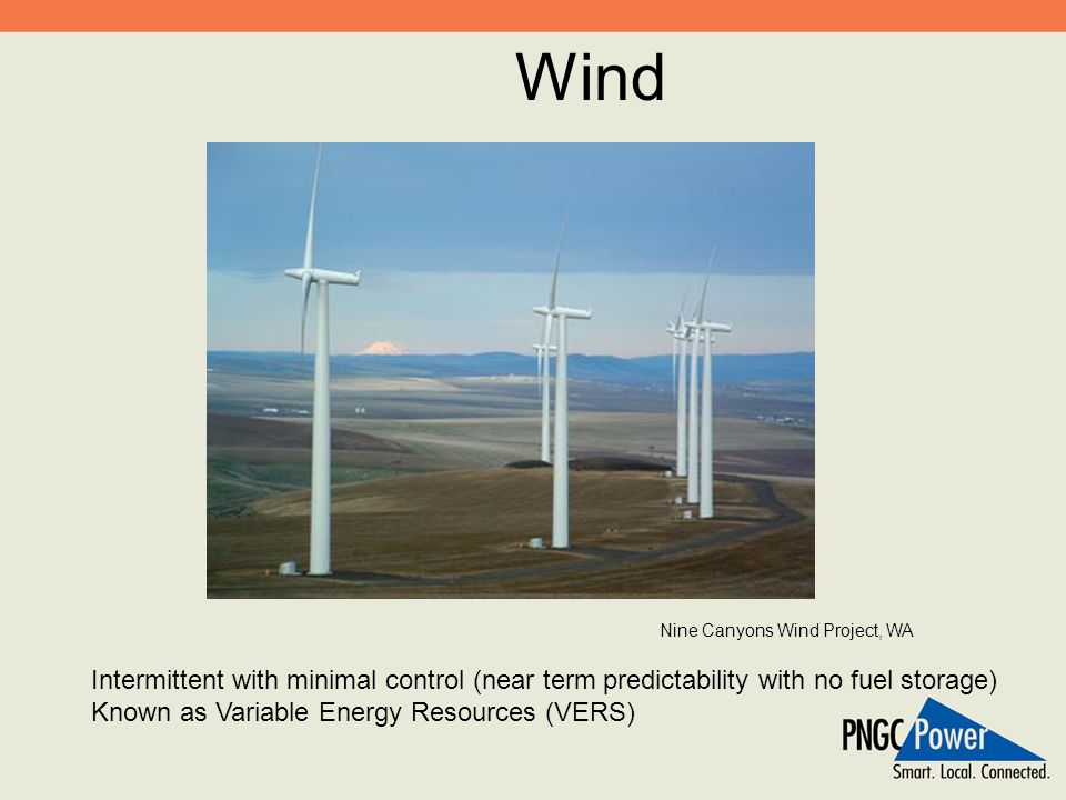 Wind Intermittent with minimal control (near term predictability with no fuel storage) Known as Variable Energy Resources (VERS) Nine Canyons Wind Pro