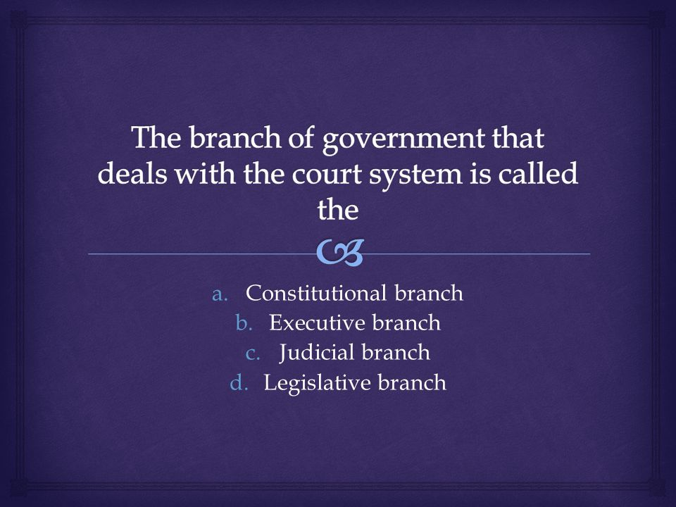 a.Constitutional branch b.Executive branch c.Judicial branch d.Legislative branch