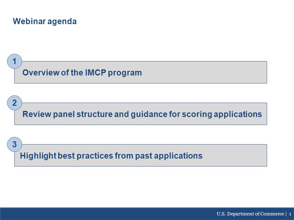 Webinar agenda Overview of the IMCP program Review panel structure and guidance for scoring applications Highlight best practices from past applications 1 2 3 U.S.
