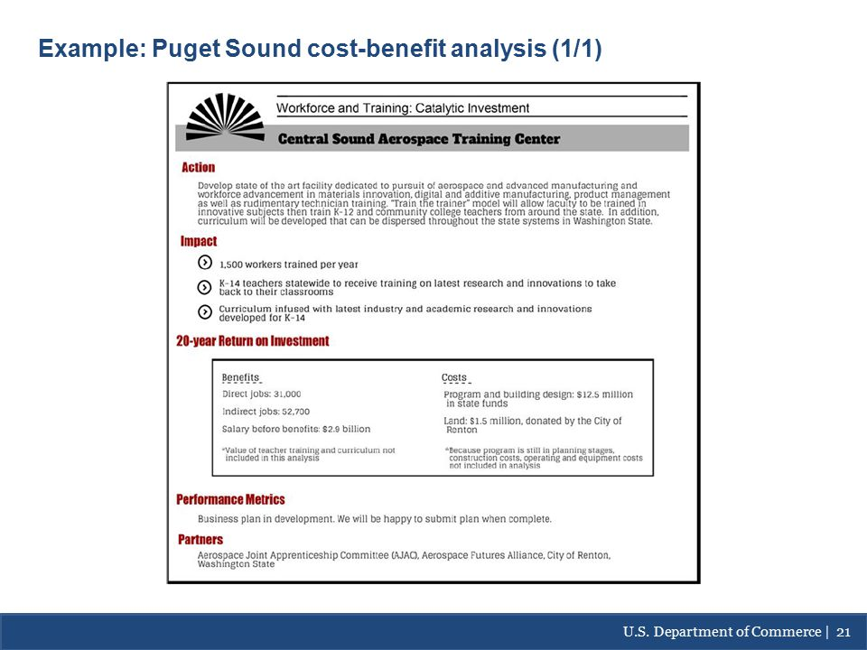 Best Practices: Example- Puget Sound Cost/Benefit Analysis Example: Puget Sound cost-benefit analysis (1/1) U.S.