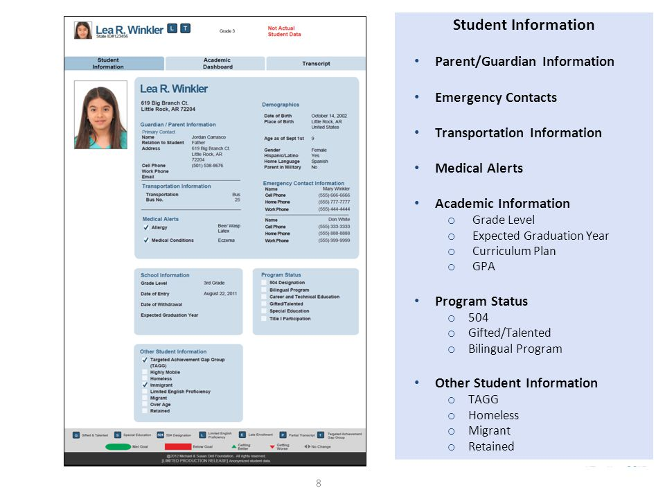 8 Student Information Parent/Guardian Information Emergency Contacts Transportation Information Medical Alerts Academic Information o Grade Level o Expected Graduation Year o Curriculum Plan o GPA Program Status o 504 o Gifted/Talented o Bilingual Program Other Student Information o TAGG o Homeless o Migrant o Retained