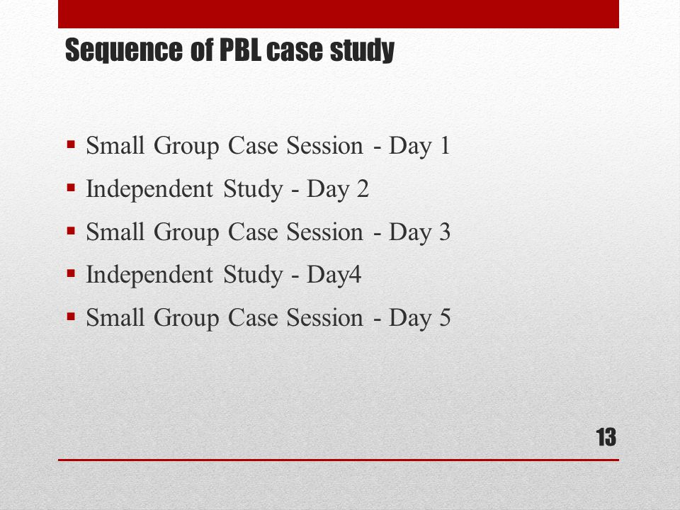 Small Group Case Session - Day 1  Independent Study - Day 2  Small Group Case Session - Day 3  Independent Study - Day4  Small Group Case Session - Day 5 Sequence of PBL case study 13