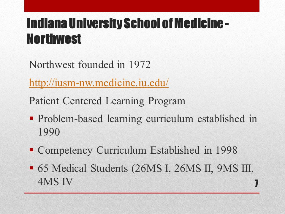 Indiana University School of Medicine - Northwest Northwest founded in 1972 http://iusm-nw.medicine.iu.edu/ Patient Centered Learning Program  Problem-based learning curriculum established in 1990  Competency Curriculum Established in 1998  65 Medical Students (26MS I, 26MS II, 9MS III, 4MS IV 7