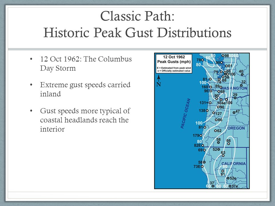 Classic Path: Historic Peak Gust Distributions 12 Oct 1962: The Columbus Day Storm Extreme gust speeds carried inland Gust speeds more typical of coastal headlands reach the interior