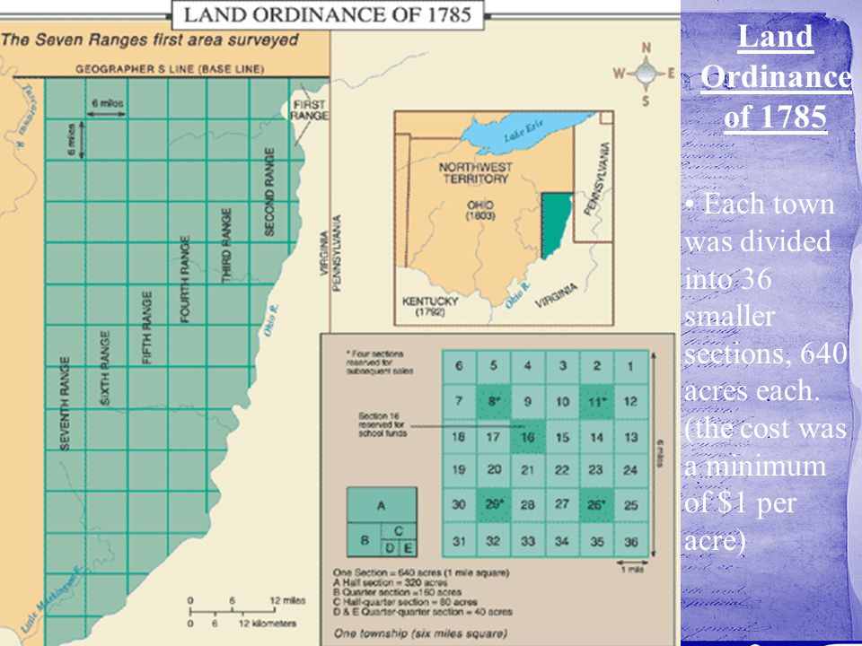 Each town was divided into 36 smaller sections, 640 acres each. (the cost was a minimum of $1 per acre)
