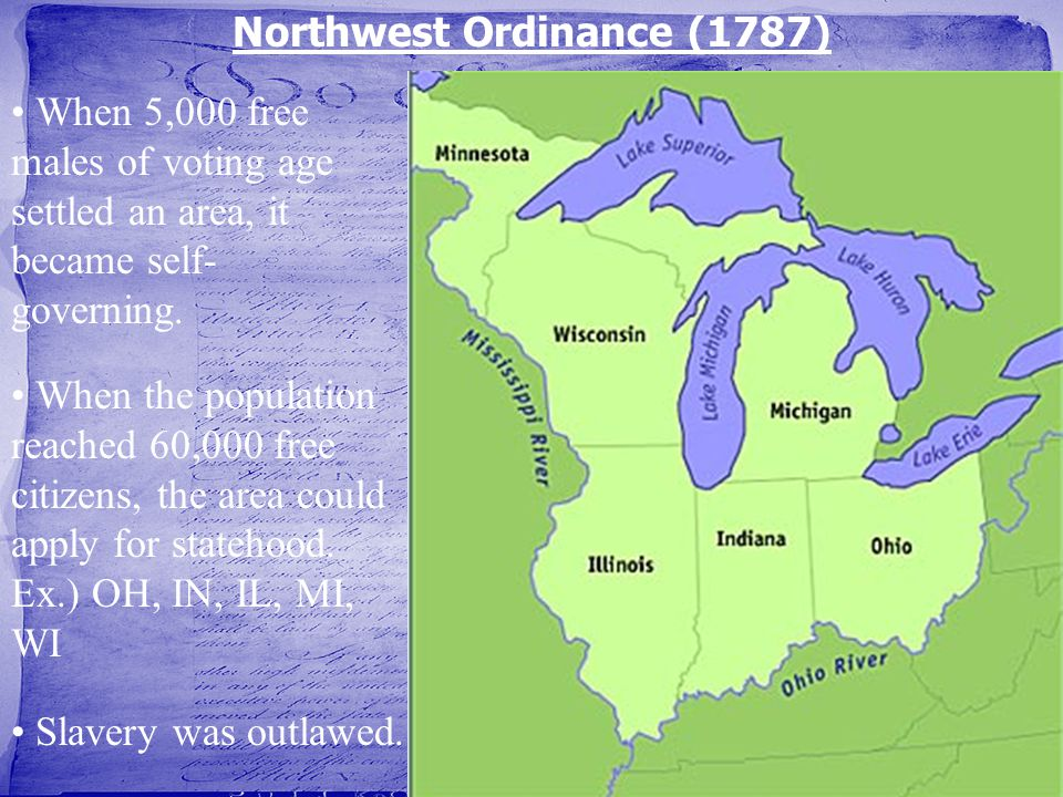 When the population reached 60,000 free citizens, the area could apply for statehood. Ex.) OH, IN, IL, MI, WI Northwest Ordinance (1787) When 5,000 fr