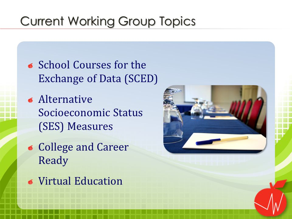 School Courses for the Exchange of Data (SCED) Alternative Socioeconomic Status (SES) Measures College and Career Ready Virtual Education Current Working Group Topics