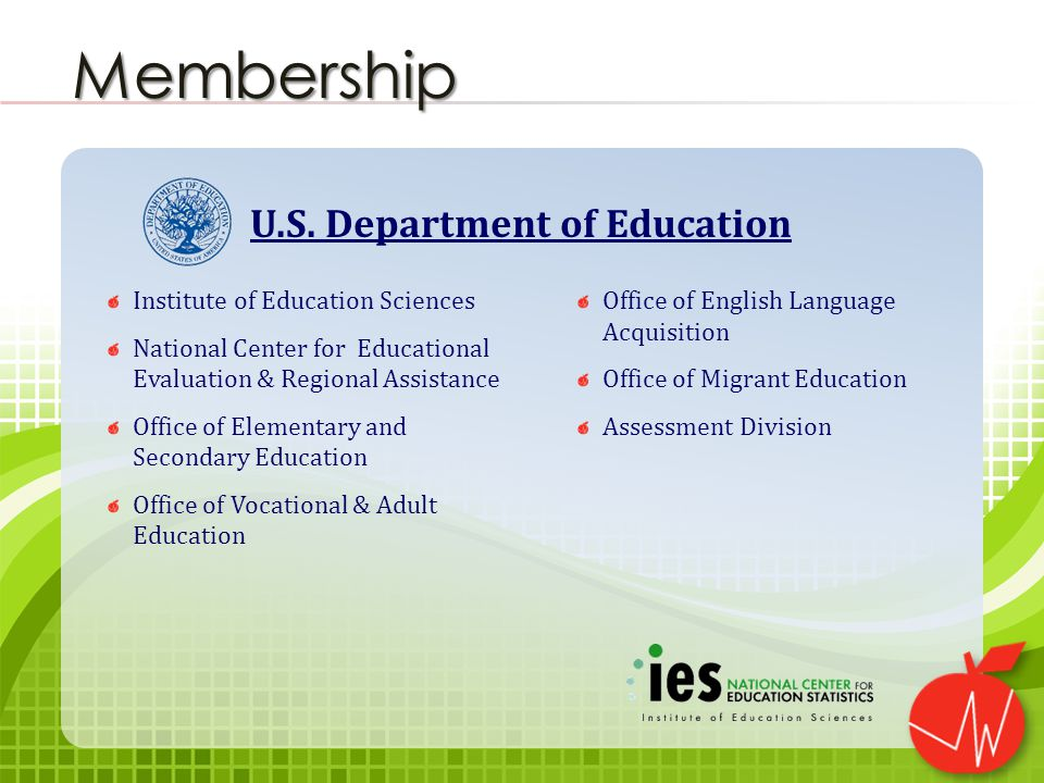 Institute of Education Sciences National Center for Educational Evaluation & Regional Assistance Office of Elementary and Secondary Education Office of Vocational & Adult Education Office of English Language Acquisition Office of Migrant Education Assessment Division Membership U.S.