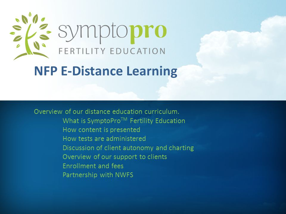 NFP E-Distance Learning Overview of our distance education curriculum.