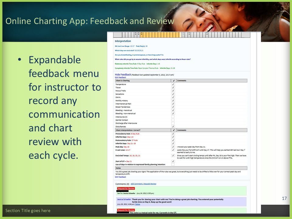 Online Charting App: Feedback and Review Expandable feedback menu for instructor to record any communication and chart review with each cycle.
