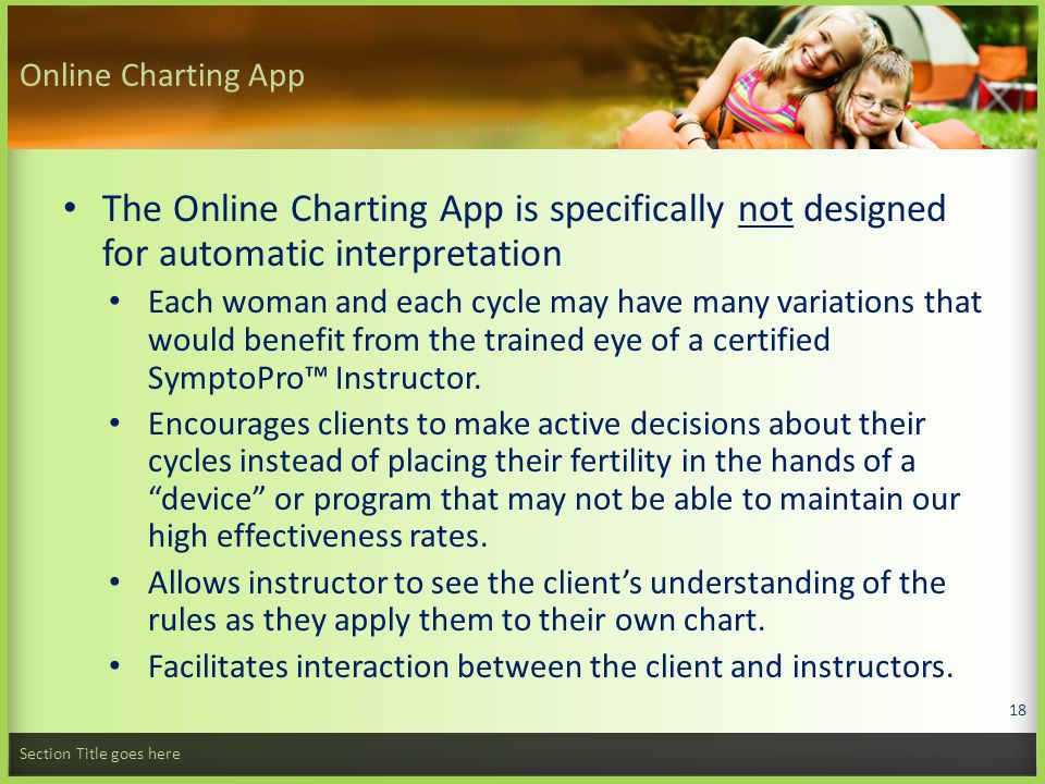 Online Charting App The Online Charting App is specifically not designed for automatic interpretation Each woman and each cycle may have many variations that would benefit from the trained eye of a certified SymptoPro™ Instructor.