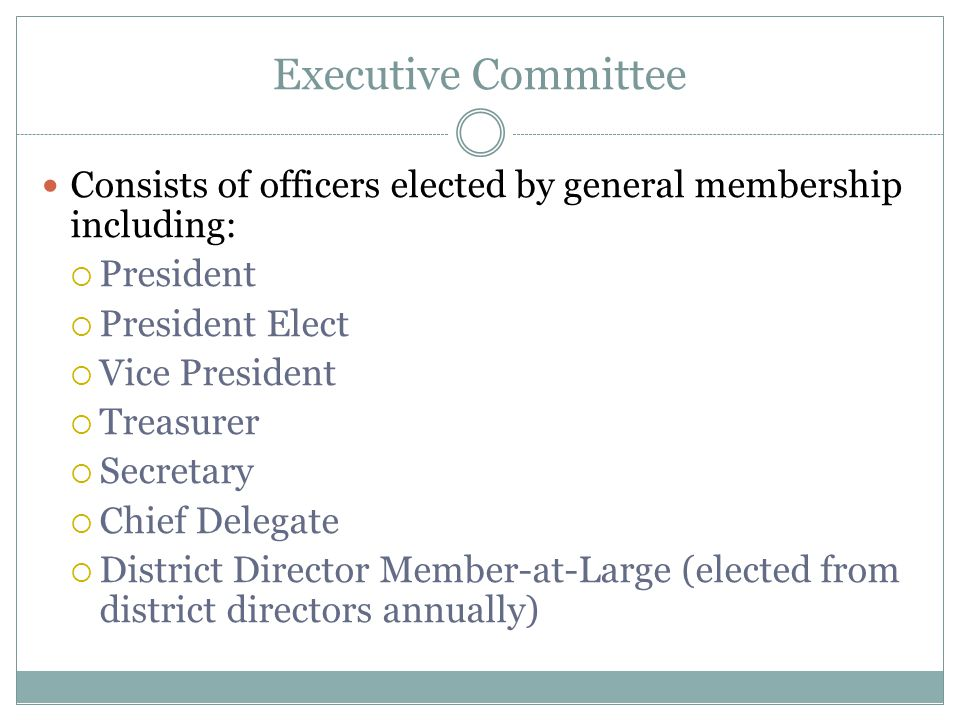 Executive Committee Consists of officers elected by general membership including:  President  President Elect  Vice President  Treasurer  Secretary  Chief Delegate  District Director Member-at-Large (elected from district directors annually)