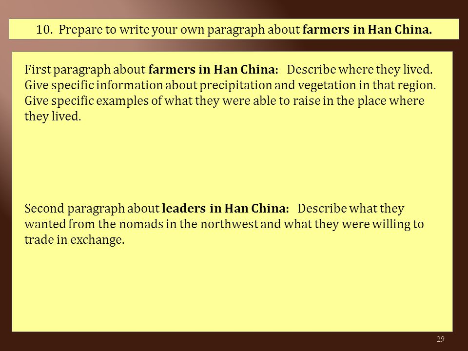 10. Prepare to write your own paragraph about farmers in Han China. First paragraph about farmers in Han China: Describe where they lived. Give specif