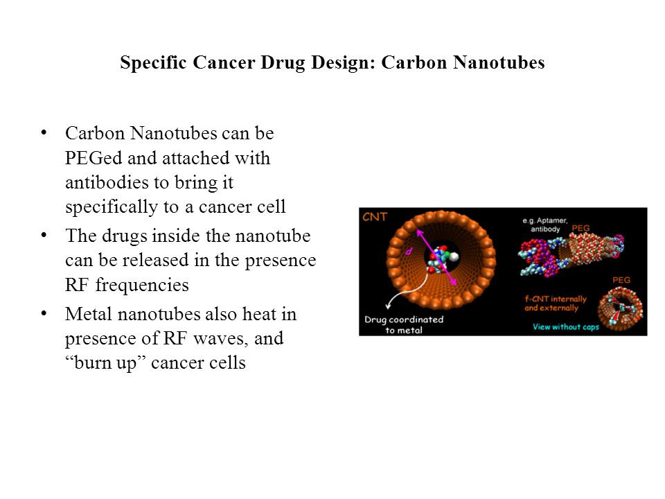 Specific Cancer Drug Design: Carbon Nanotubes Carbon Nanotubes can be PEGed and attached with antibodies to bring it specifically to a cancer cell The