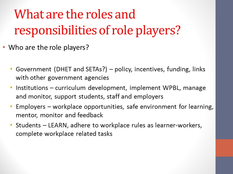 What are the roles and responsibilities of role players? Who are the role players? Government (DHET and SETAs?) – policy, incentives, funding, links w