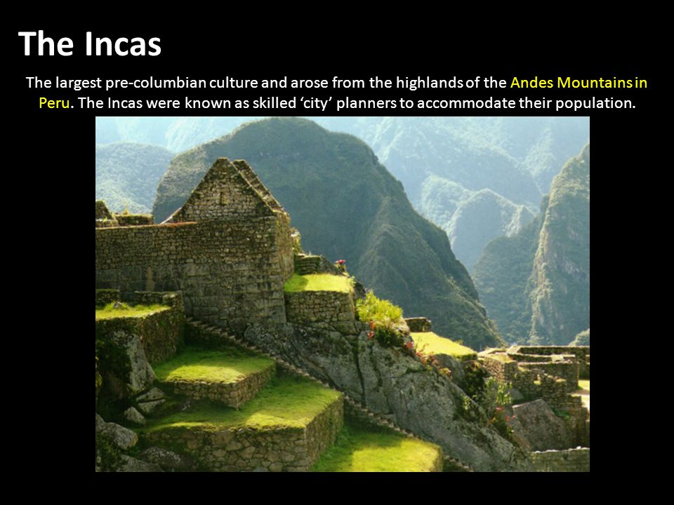 The largest pre-columbian culture and arose from the highlands of the Andes Mountains in Peru.