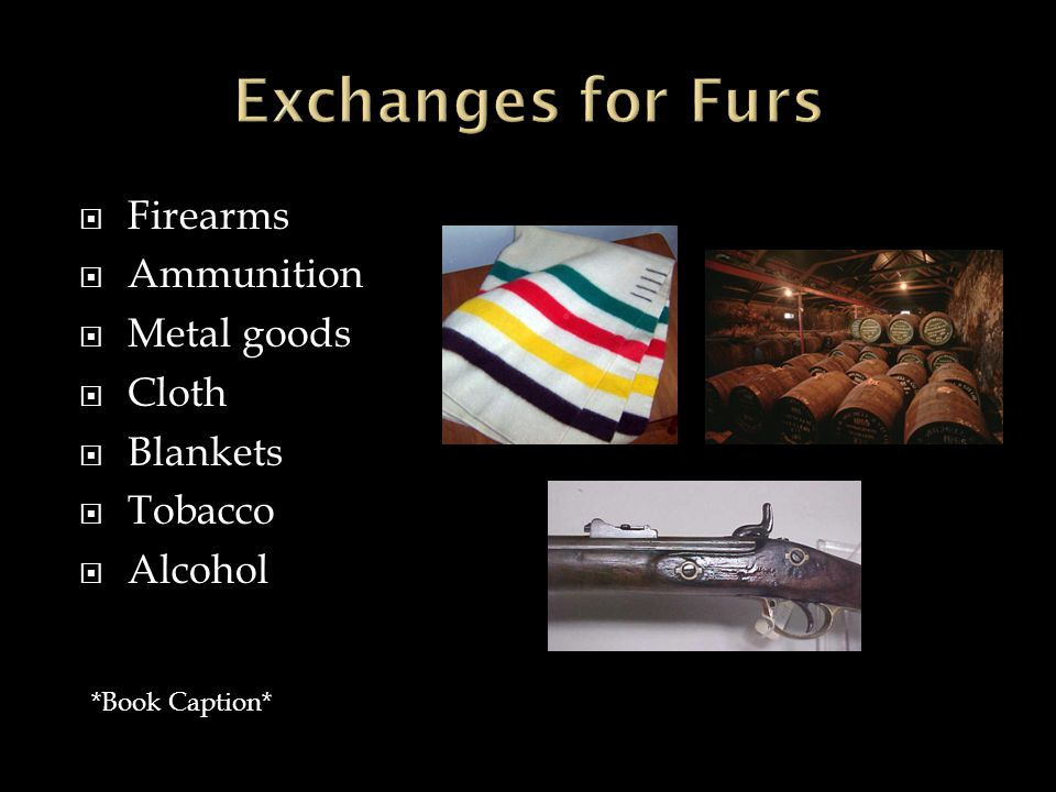  Firearms  Ammunition  Metal goods  Cloth  Blankets  Tobacco  Alcohol *Book Caption*