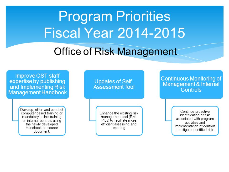 Program Priorities Fiscal Year 2014-2015 Office of Risk Management Improve OST staff expertise by publishing and Implementing Risk Management Handbook Develop, offer, and conduct computer based training or mandatory online training on internal controls using the newly developed Handbook as source document.