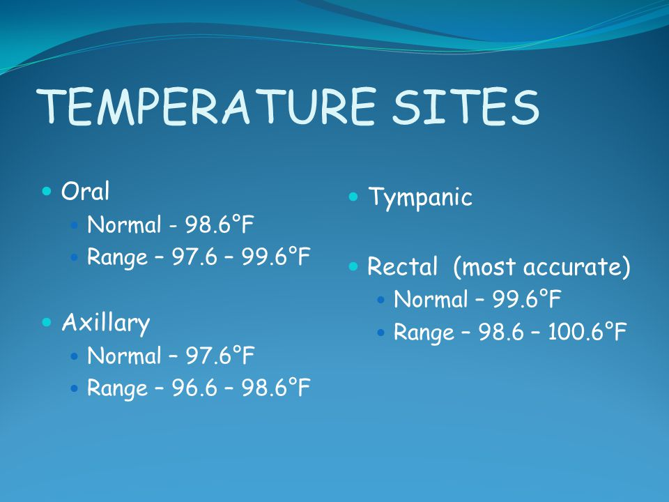 TEMPERATURE SITES Oral Normal - 98.6°F Range – 97.6 – 99.6°F Axillary Normal – 97.6°F Range – 96.6 – 98.6°F Tympanic Rectal (most accurate) Normal – 9