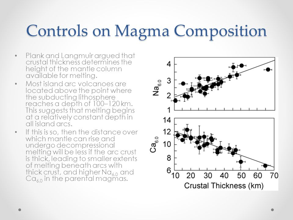 Controls on Magma Composition Plank and Langmuir argued that crustal thickness determines the height of the mantle column available for melting.