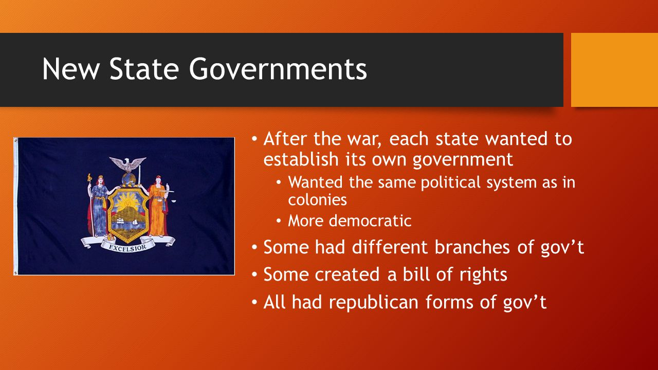 New State Governments After the war, each state wanted to establish its own government Wanted the same political system as in colonies More democratic