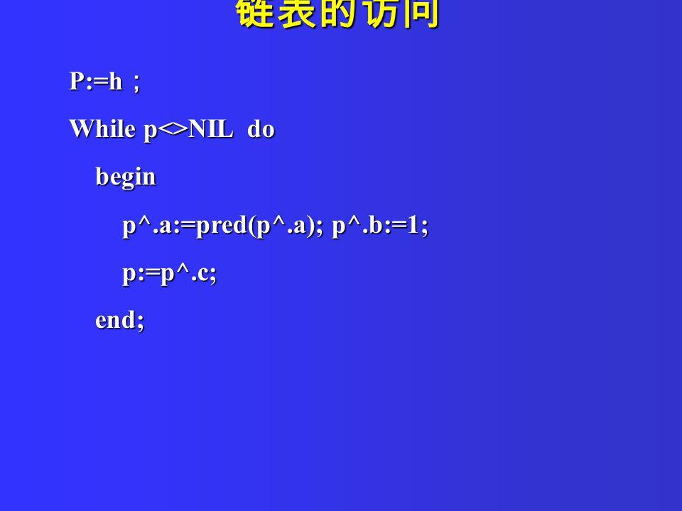 P:=h ; While p<>NIL do begin begin p^.a:=pred(p^.a); p^.b:=1; p^.a:=pred(p^.a); p^.b:=1; p:=p^.c; p:=p^.c; end; end; 链表的访问