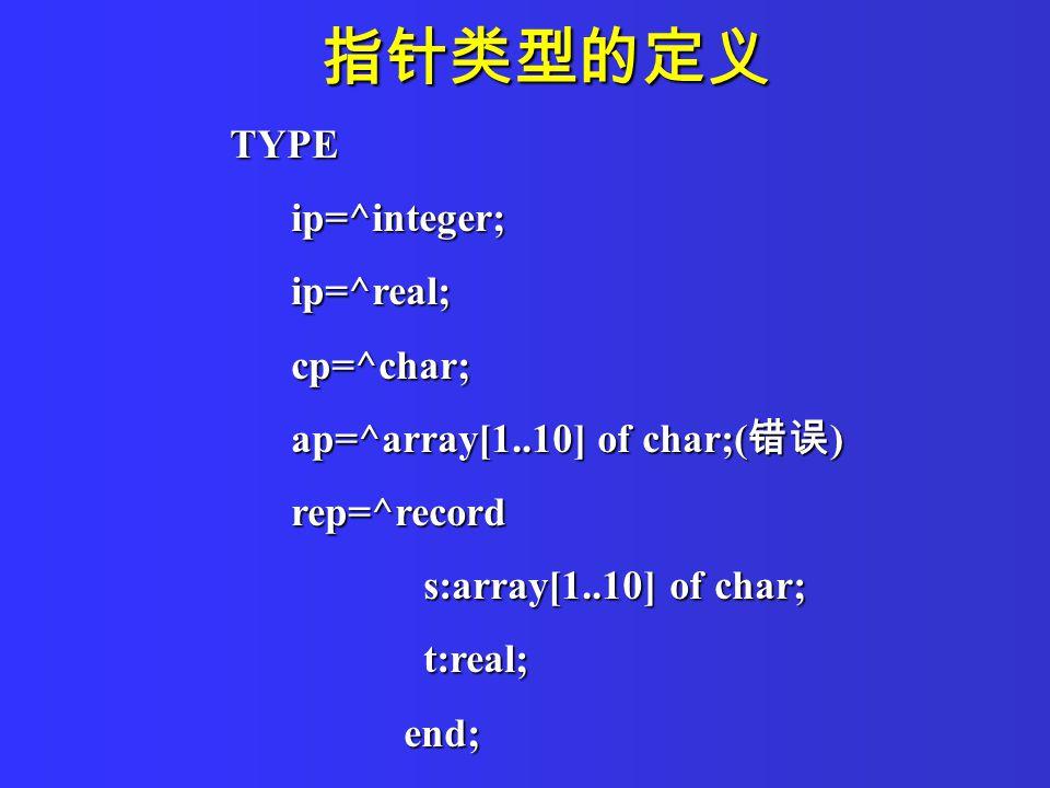 指针类型的定义 TYPE ip=^integer; ip=^integer; ip=^real; ip=^real; cp=^char; cp=^char; ap=^array[1..10] of char;( 错误 ) ap=^array[1..10] of char;( 错误 ) rep=^record rep=^record s:array[1..10] of char; s:array[1..10] of char; t:real; t:real; end; end;
