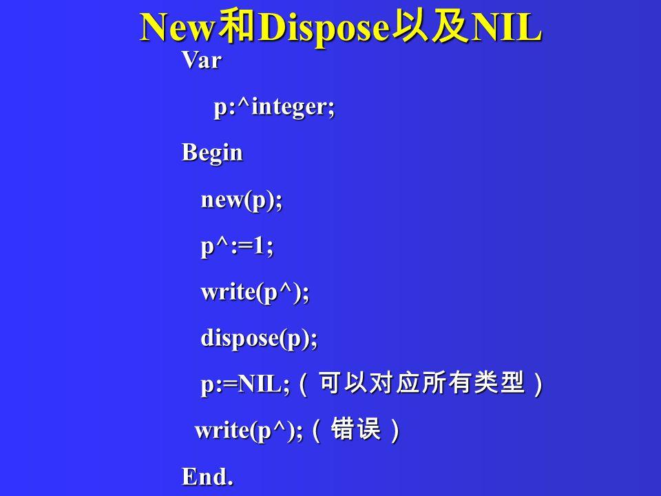 New 和 Dispose 以及 NIL Var p:^integer; p:^integer;Begin new(p); new(p); p^:=1; p^:=1; write(p^); write(p^); dispose(p); dispose(p); p:=NIL; (可以对应所有类型) p:=NIL; (可以对应所有类型) write(p^); (错误) write(p^); (错误)End.