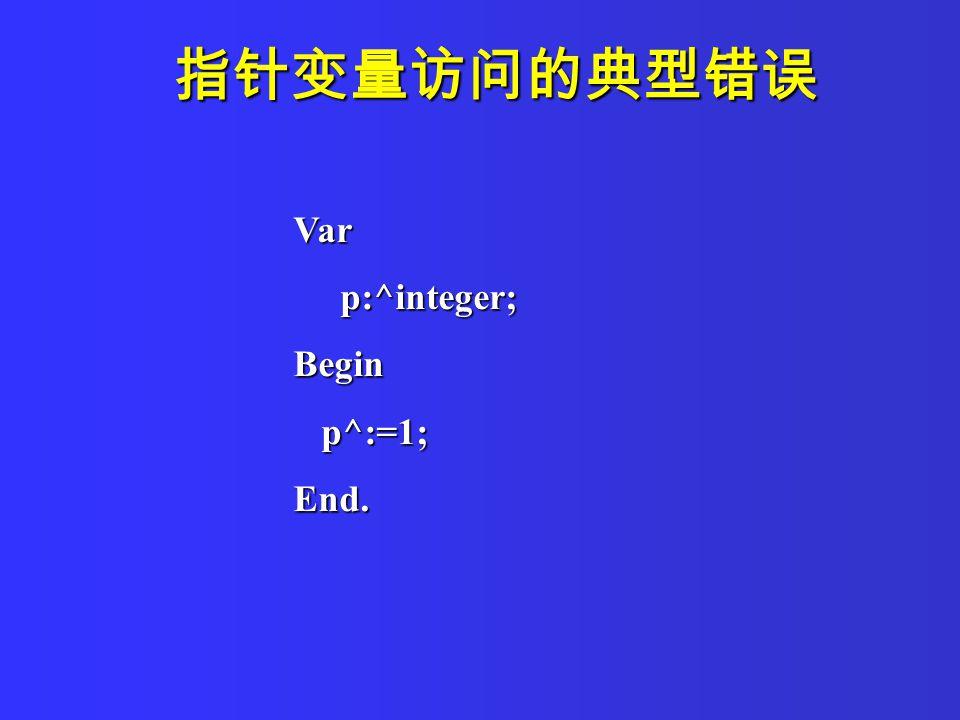 指针变量访问的典型错误 Var p:^integer; p:^integer;Begin p^:=1; p^:=1;End.