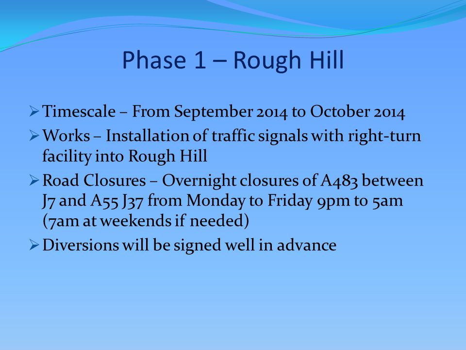 Phase 1 – Rough Hill  Timescale – From September 2014 to October 2014  Works – Installation of traffic signals with right-turn facility into Rough H