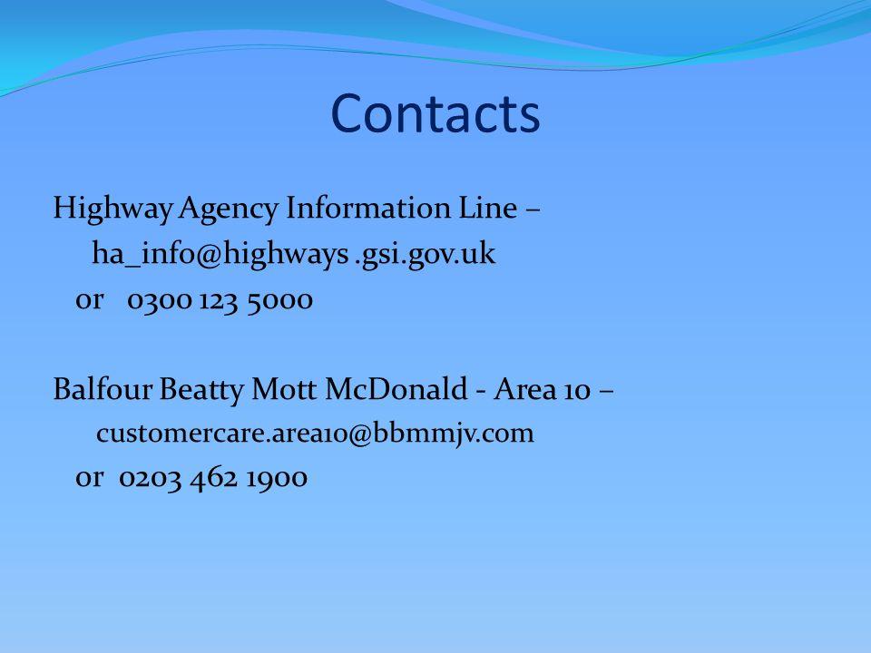 Contacts Highway Agency Information Line – ha_info@highways.gsi.gov.uk or 0300 123 5000 Balfour Beatty Mott McDonald - Area 10 – customercare.area10@b